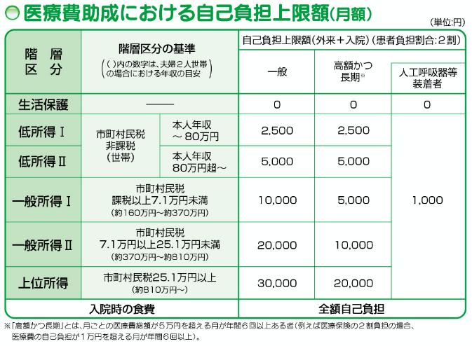医療費助成における自己負担上限額